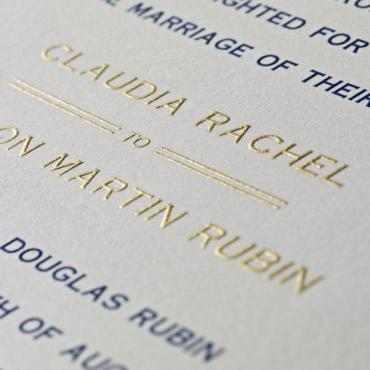 admirals club wedding invitation engraved